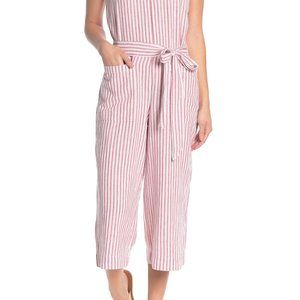 BeachLunchLounge Striped Linen Blend Jumpsuit L